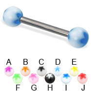 Acrylic flower ball titanium straight barbell, 12 ga
