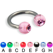 Acrylic jeweled ball titanium circular barbell, 12 ga