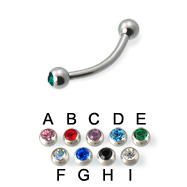 Double Jeweled Curved Barbell Eyebrow Ring, 16 Ga