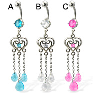 Belly button ring with heart and three teardrop gems on chains