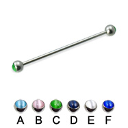 Cat eye ball long barbell (industrial barbell), 14 ga