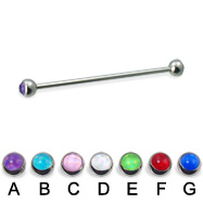 Long barbell (industrial barbell) with hologram balls, 14 ga