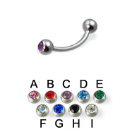 Double jeweled eyebrow ring, 18 ga