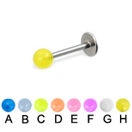 Glow-in-the-dark ball labret, 16 ga