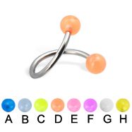 Glow-in-the-dark ball spiral barbell, 16 ga