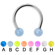 Glow-in-the-dark ball circular barbell, 16 ga