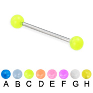 Glow-in-the-dark ball straight barbell, 16 ga