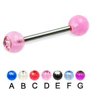 Single acrylic jeweled ball titanium straight barbell, 14 ga