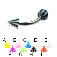 Beach ball and cone titanium curved barbell, 14 ga