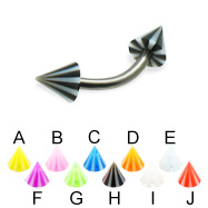 Beach cone titanium curved barbell, 14 ga