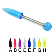 Acrylic spike  and ball titanium straight barbell, 14 ga