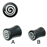 Pair Of Double Flare Horn Plugs with Spiral Bone Inlay