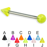 UV ball and cone titanium straight barbell, 14 ga