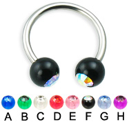 Titanium circular barbell with acrylic jeweled balls, 14 ga