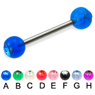 Titanium straight barbell with acrylic jeweled balls, 14 ga