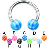 Checkered ball titanium circular barbell, 14 ga