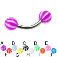 Beach ball titanium curved barbell, 14 ga
