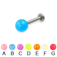 Glow-in-the-dark titanium labret, 14 ga