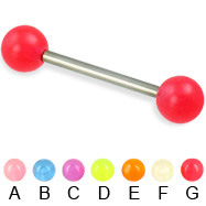 Glow-in-the-dark titanium straight barbell, 14 ga