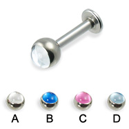 Labret with cabochon ball, 12 ga