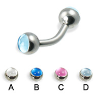 Curved barbell with cabochon balls, 12 ga