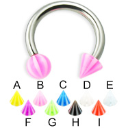 Beach ball and cone circular barbell, 12 ga