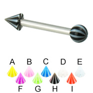 Beach ball and cone straight barbell, 12 ga