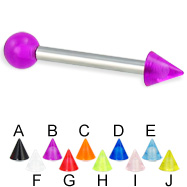 UV ball and cone straight barbell, 12 ga