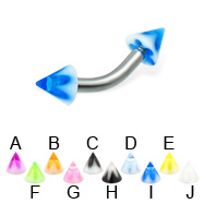 Acrylic flower cone curved barbell, 12 ga