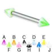 Acrylic flower cone straight barbell, 12 ga