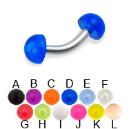 Acrylic half ball curved barbell, 12 ga