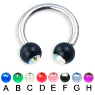Circular barbell with acrylic jeweled balls, 12 ga