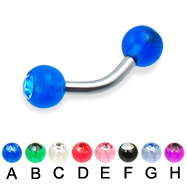 Curved barbell with acrylic jeweled balls, 12 ga