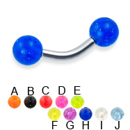 Glitter ball curved barbell, 12 ga