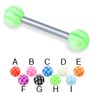 Checkered ball straight barbell, 12 ga