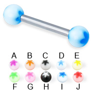 Flower ball straight barbell, 12 ga