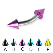 Colored cone curved barbell, 12 ga