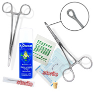 7-Piece Eyebrow Piercing Starter Kit, 16 Or 18 Gauge