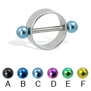 Nipple ring with colored balls, 12 ga or 14 ga