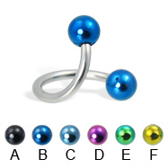 Twisted barbell with colored balls, 14 ga