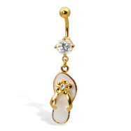 Gold Tone dangling flip-flop with flower belly button ring