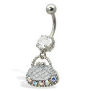 Purse belly button ring