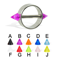 Nipple ring with UV cones, 12 ga or 14 ga