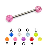 Glitter ball straight barbell, 16 ga
