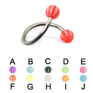 Spiral barbell with beach balls, 16 ga