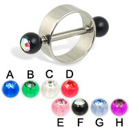 Nipple ring with acrylic jeweled balls, 14 ga
