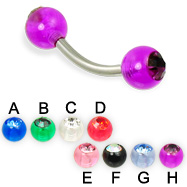 Curved barbell with acrylic jeweled balls, 14 ga