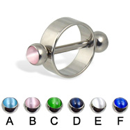 Nipple ring with cat eye balls, 12 ga or 14 ga
