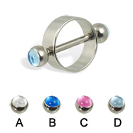 Nipple ring with cabochon balls, 12 ga or 14 ga