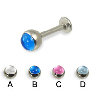 Labret with cabochon ball, 14 ga